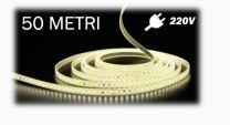 Strip LED 220V 2835-104 LED/m da 50 Metri bianco caldo 3000K IP68 12W/m